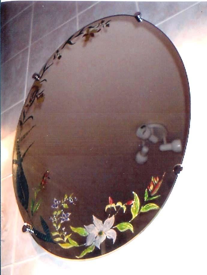 Miroir de salle de bain fleurs exotiques for Miroir exotique